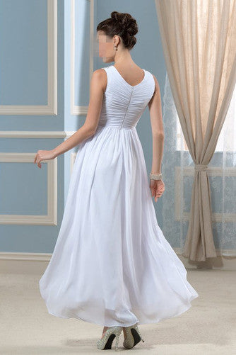 Anneprom Spring V-neck Ankle Length Wedding Dress Pleated Bodice APW0135