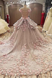 Anneprom Sheer Jewel Neckline Ball Gown Wedding Dress With Lace Appliques APW0145