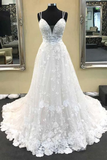 Anneprom Ball Gown V Neck Spaghetti Straps Ivory Lace Long Wedding Dresses APW0153