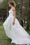 Anneprom High Low Sweetheart Sleeveless Organza Applique Wedding Dress APW0161