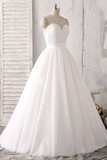 Anneprom Spaghetti Straps Sweetheart Floor-Length White Satin Wedding Dress APW0162