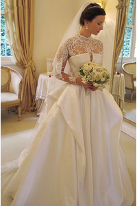 Anneprom Long Sleeves High Neck Lace Court Train Satin Wedding Dress APW0170