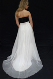 Anneprom Two Piece Black And White Strapless Sweetheart Chiffon Wedding Dresses APW0176