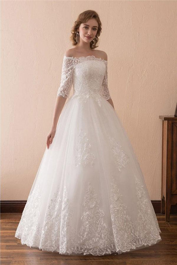 Anneprom Off The Shoulder Lace Ball Gown Wedding Dress With 1/2 Sleeves APW0181