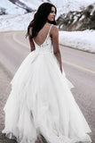 Anneprom A-Line Spaghetti Straps Asymetrical Wedding Dress With Lace APW0190