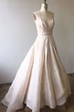 Anneprom Spaghetti Straps Light Pink Long Wedding Dress With Criss Back APW0192