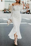 Anneprom Mermaid Off-The-Shoulder High Low Lace Wedding Dress With Long Sleeves APW0207