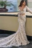 Anneprom Mermaid Deep V-Neck Long Sleeves White Wedding Dress With Pockets APW0212