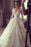 Anneprom Elegant Ball Gown Lace Long Wedding Dress With Long Illusion Sleeves APW0213
