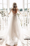 Anneprom Long Sleeve Ivory Tulle See Through Backless Wedding Dresses APW0217