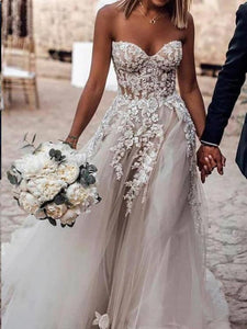 Anneprom Sweetheart Strapless Lace Rustic Wedding Dresses Long Tulle Beach Wedding Dress APW0220