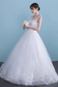 Anneprom Charming Lace Long A Line Prom Dress, Long Wedding Dress With Cap Sleeves  APW0271