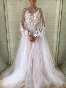 Anneprom A-line Scoop Long Sleeve Wedding Dress Gorgeous Long Formal Dresses APW0278