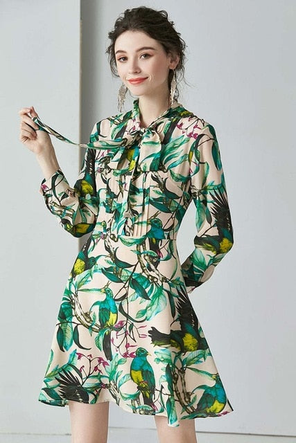 100% Heavy Silk Women's Runway Dress Bow Collar Wrist Sleeves Floral Printed Elegant Fashion Dresses - Source Silk
