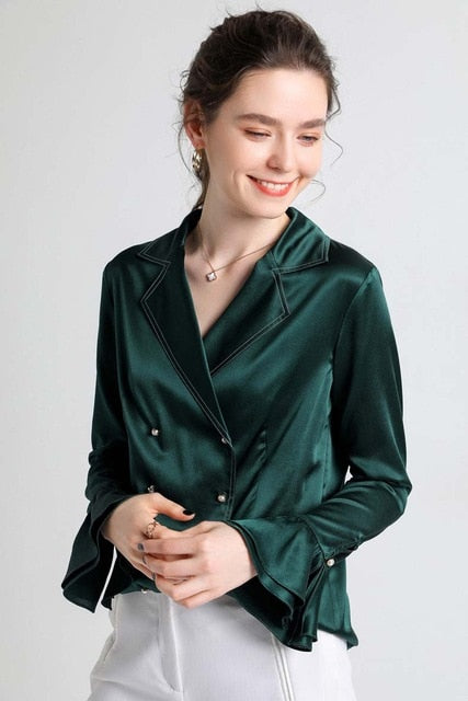 100% Heavy Silk Women's Shirt Notched Collar Long Flare Sleeves Ruffles  Double Breasted Fashion Blouse Tops - Source Silk