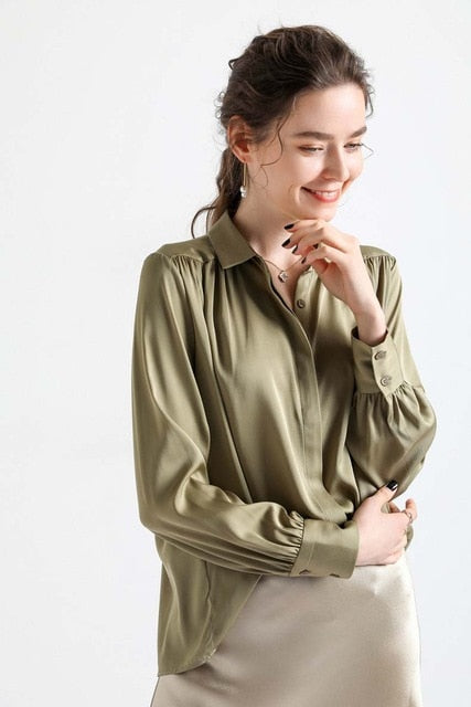 100% High Quality Heavy Silk Shirt Turn Down Collar Long Sleeves Ruched Fashion Shirt Blouse - Source Silk