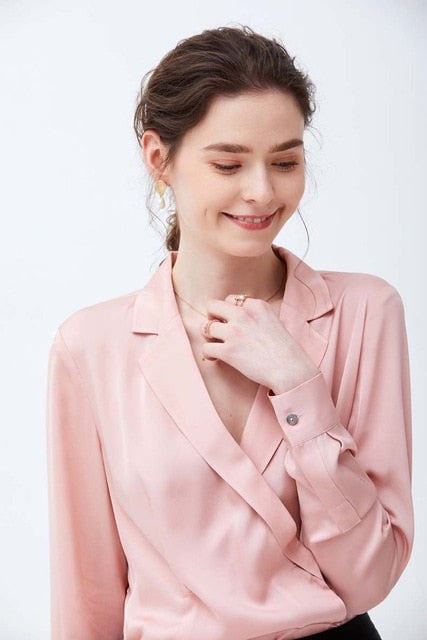100% High Quality Silk Shirt Women's Notched Collar Long Sleeves Elegant Blouse Shirt - Source Silk