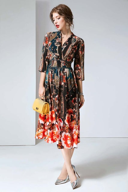 100% Natural Silk Women's Runway Dresses V Neck 3/4 Sleeves Printed Elastic Waist Elegant Summer Dresses - Source Silk