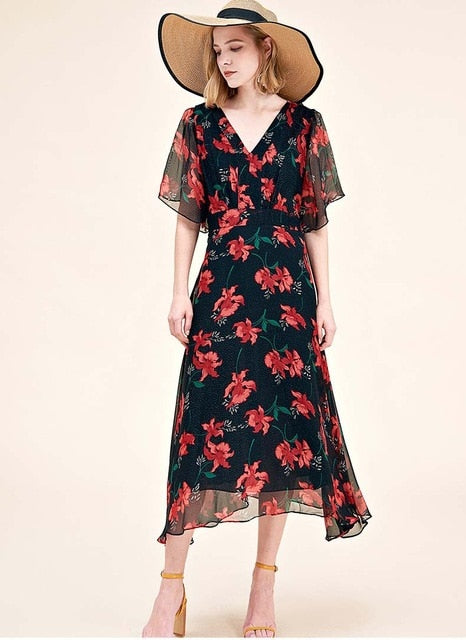 100% Natural Silk Women's Runway Dresses V Neck Short Sleeves Floral Printed Asymmetrical Elegant Casual Summer Dresses - Source Silk