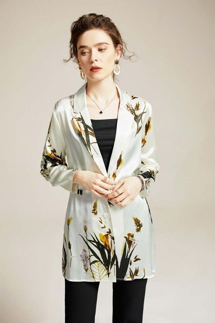 100% Natural Silk Women's Runway Jackets Notched Collar Long Sleeves Printed Elegant Fashion Outerwear Blazers - Source Silk