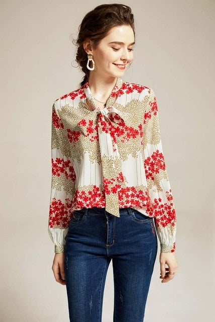 100% Natural Silk Women's Runway Shirt Bow Collar Long Sleeves Printed Floral Fashion Casual Blouse Tops - Source Silk