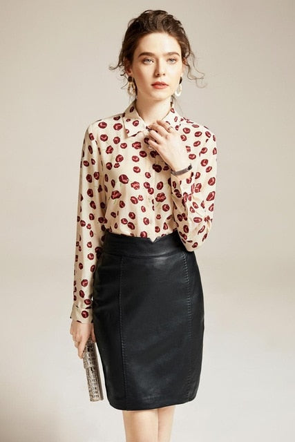 Floral Print Long Sleeve Silk Blouse - Source Silk