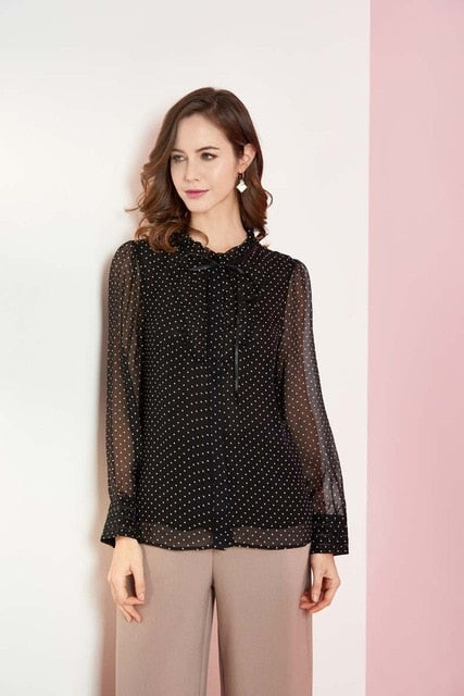 100% Natural Silk Women's Runway Shirt O Neck Long Sleeves Lace Up Ruffles Dots Printed Elegant Blouse Shirt - Source Silk