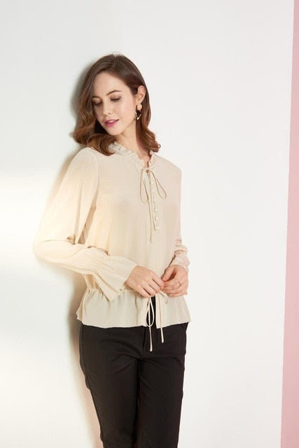 100% Natural Silk Women's Runway Shirt Ruffled Collar Long Sleeves Lace Up Casual Fashion Blouse Shirt - Source Silk
