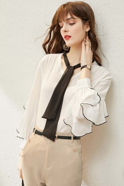 100% Natural Silk Women's Runway Shirts O Neck Lace Up Bow Long Sleeves Ruffles Fashion Pullover Blouse Tops - Source Silk