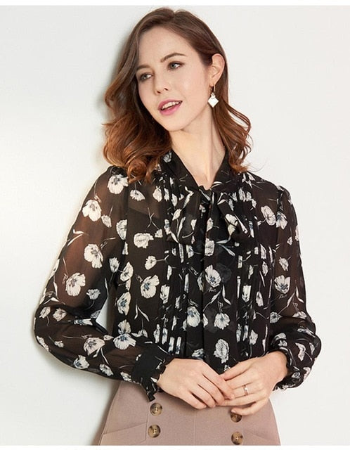 100% Natural Silk Women's Runway Shirts Turn Down Collar Floral Printed Sash Bow Ruffles Long Sleeves Fashion Shirts - Source Silk