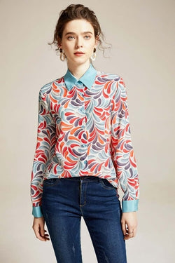 Abstract Leaf Blouse - Source Silk