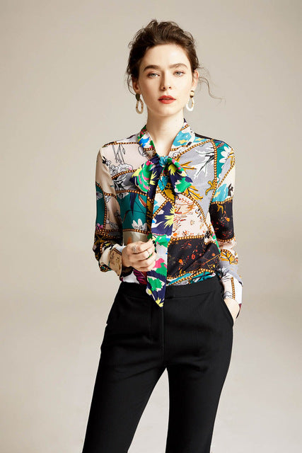 100% Pure Silk Women's Fashion Runway Shirts Bow Collar Long Sleeves Floral Printed Spring Summer Elegant Blouse - Source Silk