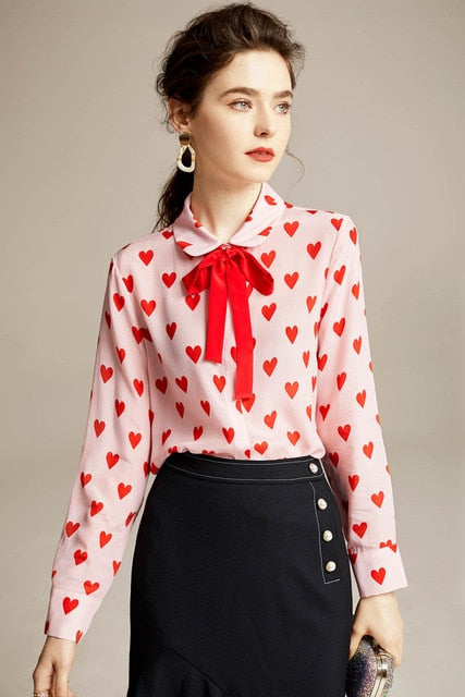 100% Pure Silk Women's Runway Shirt Peter Pan Bow Collar Long Sleeves Sweathearts Printed Elegant Blouse Shirt - Source Silk