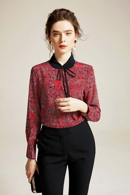 100% Pure Silk Women's Runway Shirts Peter Pan Collar Printed Long Sleeves Lace Up Elegant Fashion Casual Shirts Blouses - Source Silk