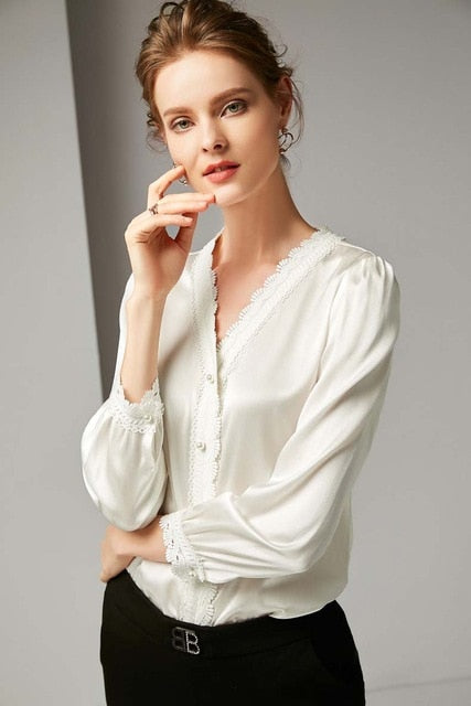 100% Pure Silk Women's Runway Shirts Sexy V Neck Long Sleeves Embroidery Lace Trim Piping Fashion High Quality Shirts Blouses - Source Silk