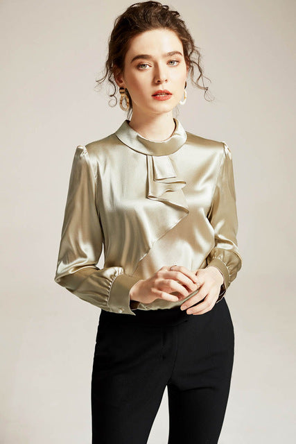 100% Pure Silk Women's Runway Shirts Stand Collar Long Sleeves Ruffles Elegant Fashion Blouse Tops - Source Silk