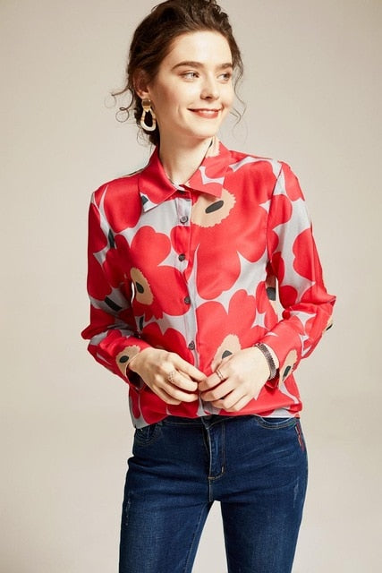 100% Pure Silk Women's Runway Shirts Turn Down Collar Floral Printed Long Sleeves Elegant Fashion Shirts Blouses - Source Silk