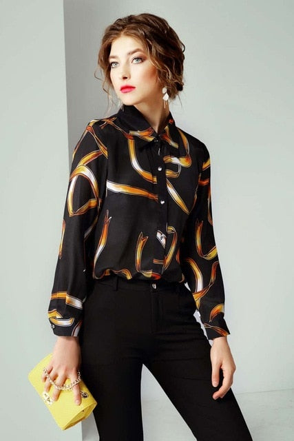 Gold Toned Abstract Blouse - Source Silk