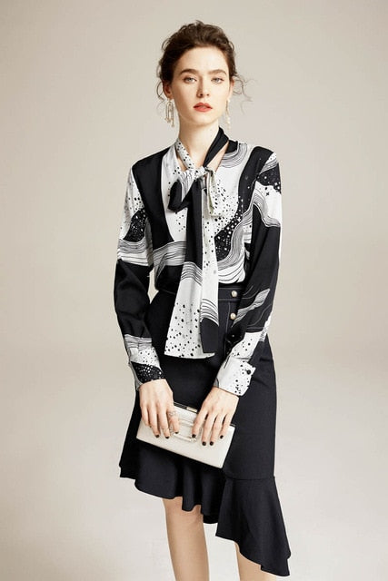 100% Pure Silk Women's Shirts Bow Collar Long Sleeves Printed Elegant Casual Blouse Shirt - Source Silk
