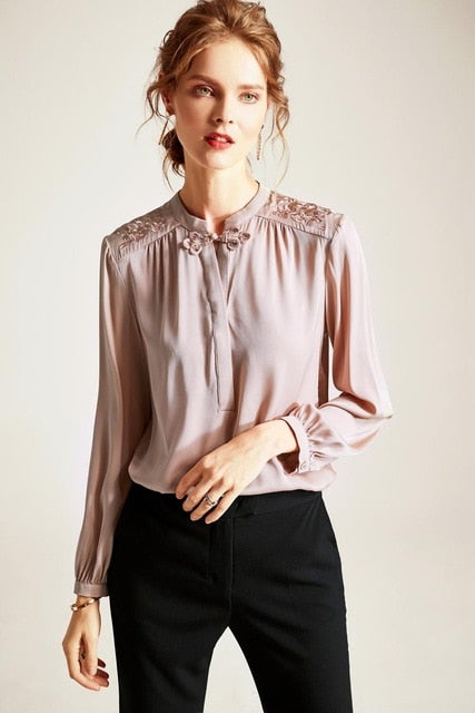 100% Pure Silk Women's Shirts O Neck Embroidery Long Sleeves Thread Button Elegant Casual Shirt Blouse Top - Source Silk