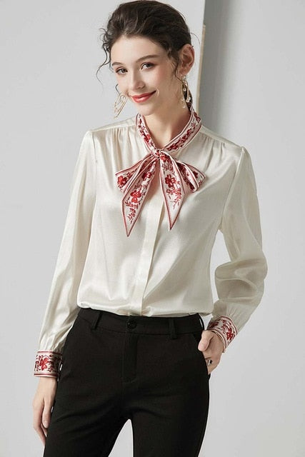 100% Pure Silk Women's Shirts Printed Bow Collar Long Sleeves Elegant Fashion Blouse Top Outerwear - Source Silk