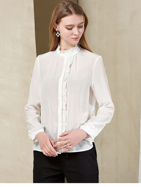 100% Pure Silk Women's Shirts Ruffled Collar Long Sleeves Ruffles Elegant Fashion Runway Shirt Blouse Tops - Source Silk