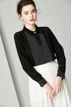 100% Pure Silk Women's Shirts Turn Down Collar Long Sleeves Striped Bow Detailing Elegant Fashion Shirt Blouse - Source Silk