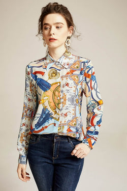 100% Pure Silk Women's Shirts Turn Down Collar Printed Cartoons Long Sleeves Fashion Casual Blouse Shirt - Source Silk