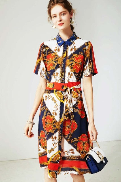 100% Silk Women's Dresses Turn Down Collar Short Sleeves Sash Belt Floral Printed Fashion Casual Dresses - Source Silk