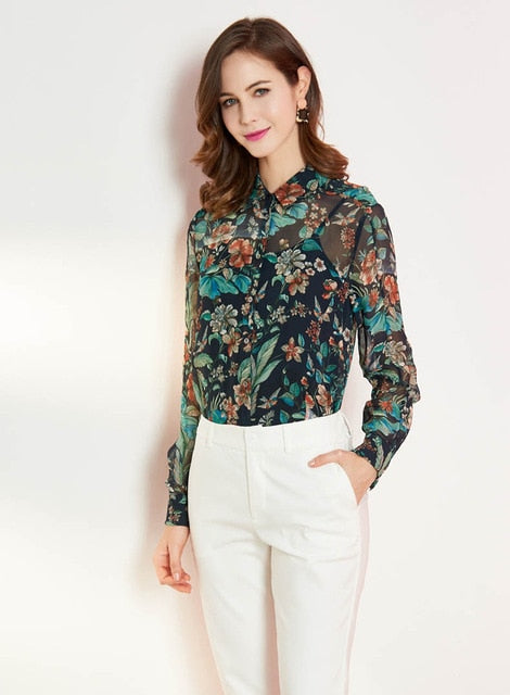 100% Silk Women's Runway Shirts Turn Down Collar Long Sleeves Printed Floral Elegant Fashion Blouse Shirts - Source Silk