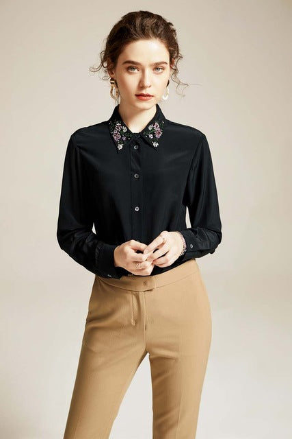 100% Silk Women's Shirt Turn Down Collar Long Sleeves Beaded Fashion Elegant Blouse Shirt - Source Silk