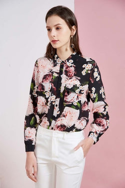Romantic Black and Pink Silk Blouse - Source Silk