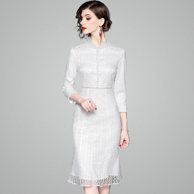 New Fashion Spring Autumn Office Lady White Dress Elegant Three Quarter Sleeve Slim Solid Beading Women Knee-Length Dress - Source Silk