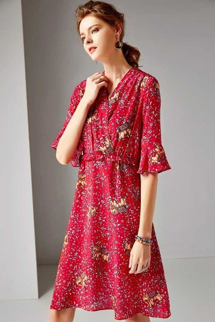 Women's 100% Silk Runway Dresses V Neck Half Sleeves Ruffles Animals Printed Elegant Casual Dresses - Source Silk